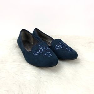 Wanted Blue Shire Embellished Crystal Loafer Flats